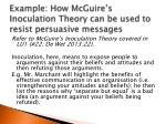 example how mcguire s inoculation theory can be used to resist persuasive messages