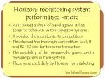 horizon monitoring system performance more