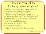 how can you sell by exchanging information