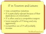 it in tourism and leisure