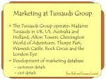 marketing at tussauds group