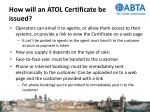 how will an atol certificate be issued