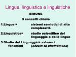 lingue linguistica e linguistiche