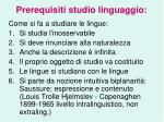 prerequisiti studio linguaggio