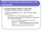 patent searching using classes and subclasses