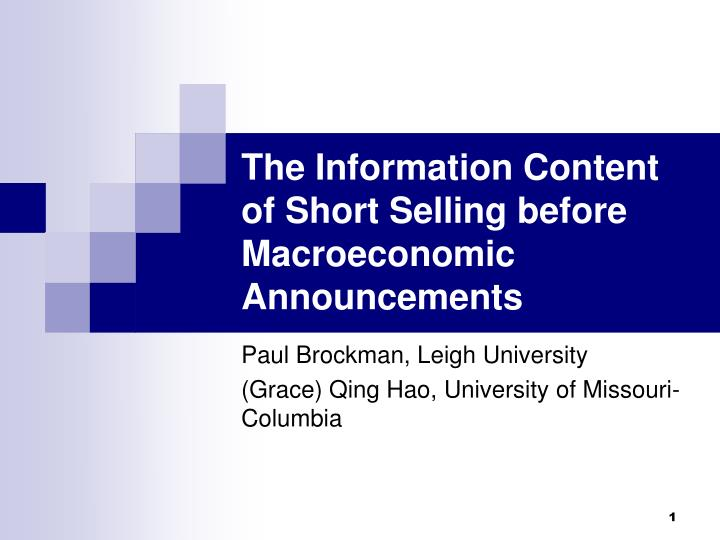 the information content of short selling before macroeconomic announcements n.