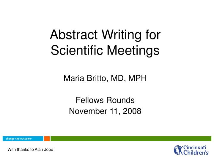 abstract writing for scientific meetings n.