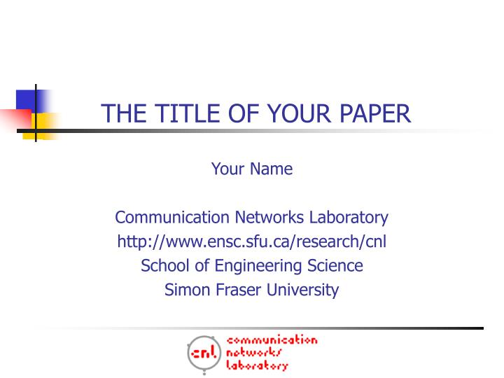 the title of your paper n.