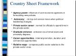 country sheet framework