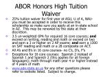 abor honors high tuition waiver