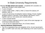 in state university requirements