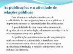 as publica es e a atividade de rela es p blicas