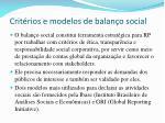 crit rios e modelos de balan o social