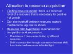 allocation to resource acquisition