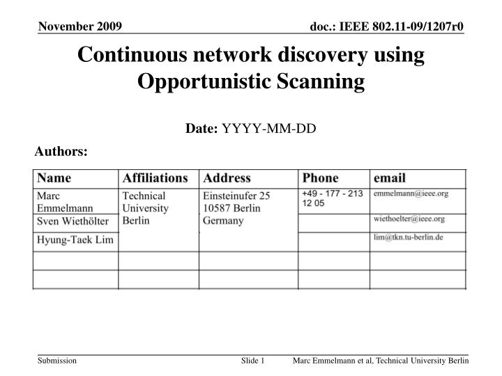 continuous network discovery using opportunistic scanning n.
