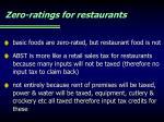 zero ratings for restaurants