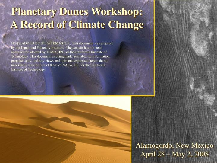 planetary dunes workshop a record of climate change n.