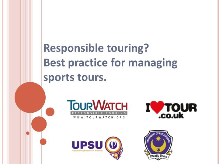 responsible touring best practice for managing sports tours n.