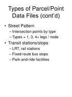 types of parcel point data files cont d