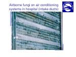 airborne fungi on air conditioning systems in hospital intake ducts