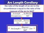 arc length corollary