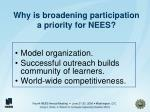 why is broadening participation a priority for nees
