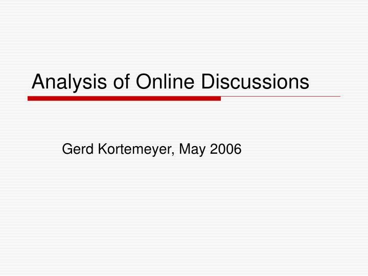 analysis of online discussions n.