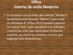 office interfaz de estilo moderno