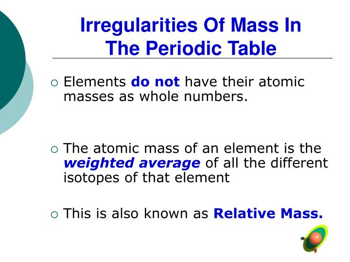 irregularities of mass in the periodic table n.