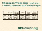 change in wage gap 1998 2001 ratio of female to male hourly wages
