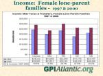 income female lone parent families 1997 2000
