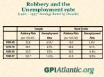 robbery and the unemployment rate 1962 1997 average rates by decade