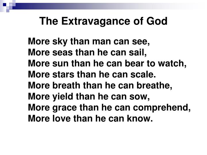the extravagance of god n.