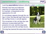 learned behavior conditioning