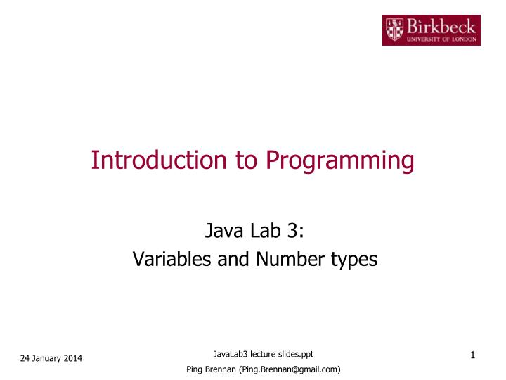 introduction to programming n.