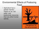 environmental effects of producing food