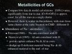 metallicities of gcs1