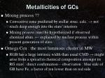 metallicities of gcs2