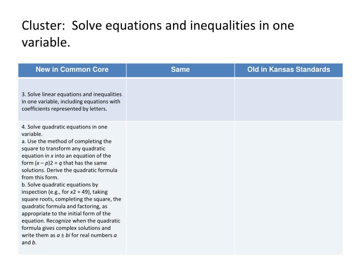 Cluster:  Solve equations and inequalities in one variable.
