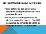 les indicateurs des abus motionnels