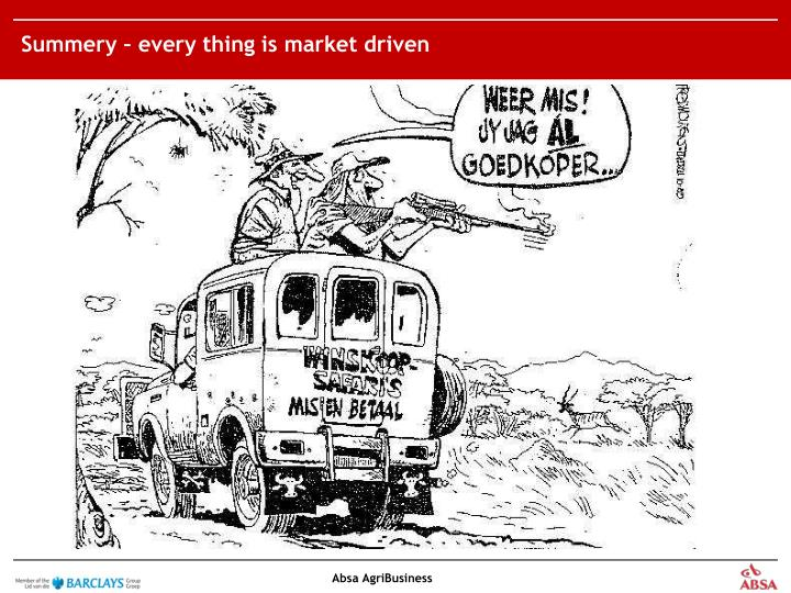 Summery – every thing is market driven