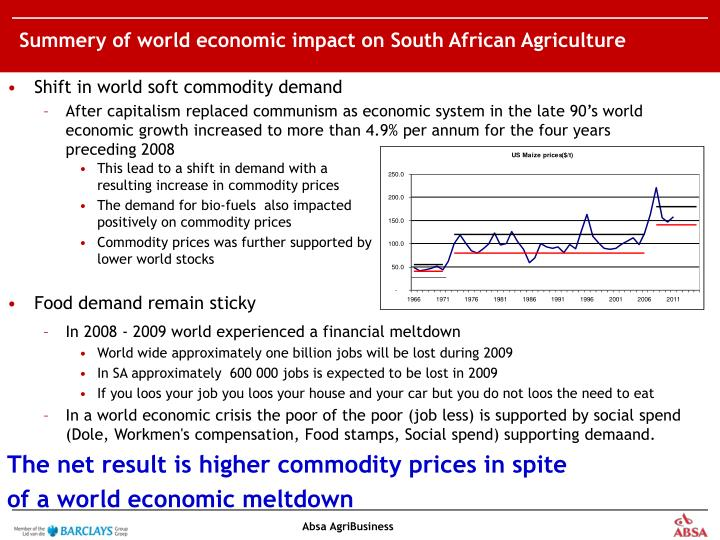 Summery of world economic impact on South African Agriculture