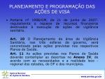 planejamento e programa o das a es de visa