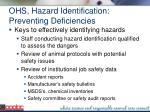 ohs hazard identification preventing deficiencies
