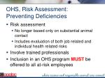 ohs risk assessment preventing deficiencies