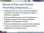 review of pain and distress preventing deficiencies cont