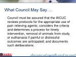 what council may say