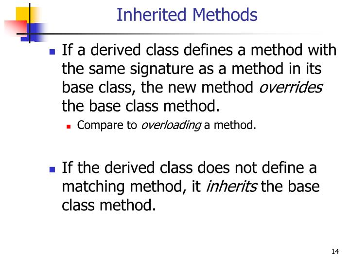 Inherited Methods