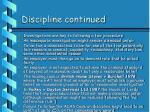 discipline continued