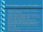 performance and attendance